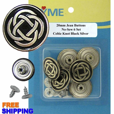 6/PKG 20mm Celtic Knot Black Silver No-Sew Jean Tack Buttons