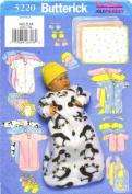 Infants Bunting Jumpsuit Shirt Nappy Cover Hat Bib Mittens Booties Blanket Butterick 5220 Sewing Pattern Newborn - Small - Medium