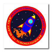 3dRose ht_12153_3 Countdown to Take Off Cute Rocket Ship Red and Blue Iron on Heat Transfer, 25cm by 25cm