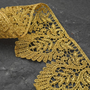 Metallic GOLD Lace Trim for Bridal, Costume or Jewellery, Crafts and Sewing, 7.6cm by 1 Yard, LP-MX-3399