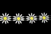 Altotux 5.1cm off white Petal Yellow Centre Daisy Rayon Cuttable Venice Lace Trim