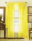 LuxuryDiscounts Beautiful Elegant Solid Bright Yellow Sheer Scarf Valance Topper 100cm X 550cm Long Window Treatment Scarves