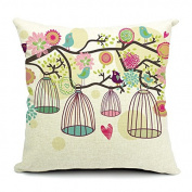 HomeChoice Cotton Linen Durable Home Love Birdcage Square Decorative Throw Pillow Cover Accent Cushion Cover Pillow Shell Bed Pillow Case 46cm By 46cm (46cm x 46cm ) For Valentine