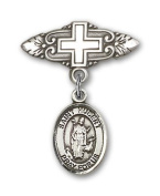 ReligiousObsession's Sterling Silver Baby Badge with St. Hubert of Liege Charm and Badge Pin with Cross