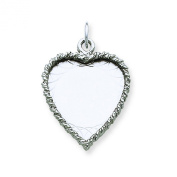 Sterling Silver Engravable Heart Disc Charm