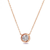 Solitaire Pendant Necklace Rose Gold Plated .925 Sterling Silver Bezel Set 6mm Cubic Zirconia