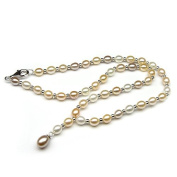 Multicolor Freshwater Pearl with Sterling Silver Phodium Plated Beads Y Necklace