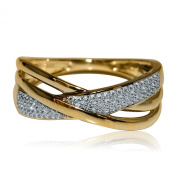 Criss Cross Anniversary Ring 10K Yellow Gold 0.1ctw 7.5mm Wide Fashion Band