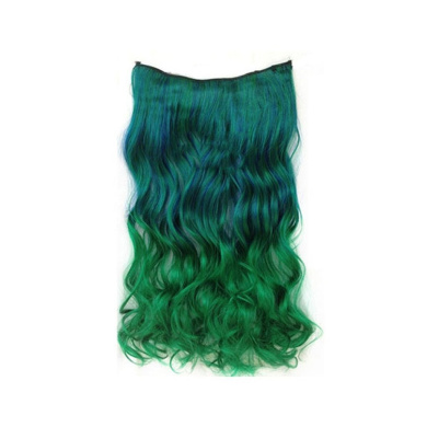 Girl's Wave Curly Clip Hair Piece Colourful Gradient Ombre Hairpieces Extensions Blue _Green