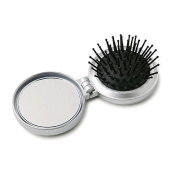 Ladies Travel Folding Compact Hair Brush & Mirror with a mini sewing kit in the back compartment - Silver
