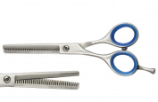 Blizzard Cobalt Thinning Scissor - Professional 14cm Barber Hair Texturising Salon Shear With Cushioned Finger Rings - Packed In Leather Sleeve