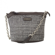 Kerr Fabric & PU Handbag w/Metal Chain