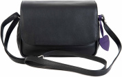 Mala Anishka Small Black Soft Leather Flap Shoulder 3 Section Handbag Bag 764-75