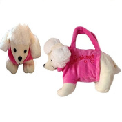 Homgaty Animal Plush Rose Pink White Poodle Hand Bag Purse Plush Stuffed Zip Bag Children Lovely Toys