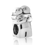 MATERIA Schmuck Couple Antique Silver Bead Element for European Beads Armband with Jewellery Box #76