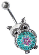 Belly Button Piercing 1.6 x 10 mm Banana in TITAN Jewellery, Owl with Many Stones