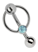 Titanium Banana Genital Piercing 1.6 x 8 MM) with 5 MM Perforated Ball and Ring with Stone in Light BLUE-Türkis