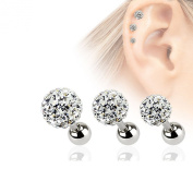 Pack of 3 - 16ga Cartilage Barbells Tragus Rook Daith with Ferido CZ Gems - 316L Surgical Steel