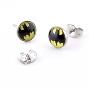 8 mm Batman Super hero Surgical steel ear studs (1 Pair) With butterfly back