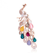 Infinite U Elegant Peacock Colourful Tail Rose Gold Plated Austrian Crystals Women Brooch/Pin