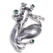 Miracle Pewter Emerald Green Crystal Scottish Bagpipe Brooch