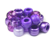 500 x Pony Beads 9mm x 6mm PURPLE BERRY MIX - Opaque Bracelets Braiding Loom Bands Dummy Clips Hair Colour Acrylic Plastic Barrel Round Jewellery Findings - Beads and Charms
