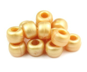 500 x OPAQUE Pony Beads 9mm x 6mm GOLD PEARL - Bracelets Braiding Loom Bands Dummy Clips Hair Colour Acrylic Plastic Barrel Round Jewellery Findings - Beads and Charms