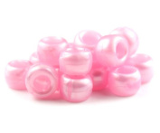 250 x OPAQUE Pony Beads 9mm x 6mm LIGHT PINK PEARL - Bracelets Braiding Loom Bands Dummy Clips Hair Colour Acrylic Plastic Barrel Round Jewellery Findings - Beads and Charms