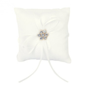 TOOGOO(R) Ivory Satin Flower Wedding Party Pocket Ring Pillow Cushion