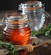 Kilner 350ml Clip Top Glass Honey Pots Jar Food Storage Jars & Beechwood Dipper