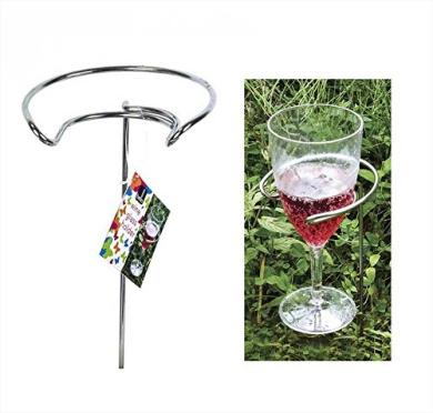 Pack of 2 Metal Wine Glass Holder Sticks Outdoor Camping Garden Picnic BBQ