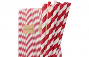 Pack of 100 Red Drinking Retro Paper Straws for Birthday Party Wedding Decoration