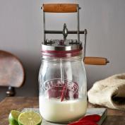 Embossed Kilner Butter Churn Maker Turner Churner Food Storage Kitchen Glass Jar
