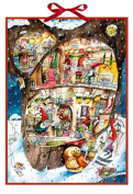 Large Traditional Card Advent Calendar Deluxe - Christmas Elves Workshop