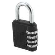 Bulk Hardware 40mm Combination Padlock with Resettable 4-Digit Combination - Black