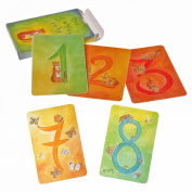 Grimm's Nature-Inspired 123 Waldorf Number Cards Part 1 - Artistic Watercolour Cards for Learning, Counting & Math with Ideas for Playing in English, Deck of 48