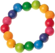 Grimm's Colourful Beaded Rainbow Bracelet for Children, 6.3 inches Long with Small Wooden (12 mm) Beads