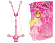 KIDS GIRLS PINK SING ALONG MICROPHONE SET WITH STAND LIGHTS SOUNDS KARAOKE