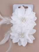 Card of 2 white glitter hair flowers