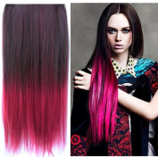 UniwigsTM Ombre Dip-dye Colour Clip in Hair Extension 60cm Length Black to Red Straight for Fashion Women Tbe0023