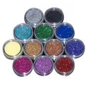 VOSO-12 Mix Colour Nail Art Acrylic Glitter Powder Dust Tips Decoration Tool # 5501450