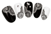 COME 2 BUY - NAIL ART TATOO/WRAP WATER TRANSFERS DECALS BLACK & WHITE FLORAL LACE FOR NAIL ART/CELL PHONE CASE/INVITATION CARDS DECORATIONS D.COR