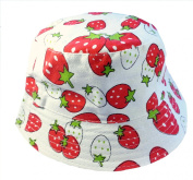 Kids Girls Canvas Cotton Sun Hat Bucket White with Strawberry Age 5 6 7 8