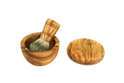 D.O.M. Shaving brush set 3 pieces made of olive wood