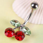 TR.OD Red Cherry Full Rhinestone Navel Belly Button Barbell Body Piercing Pierced Jewellery