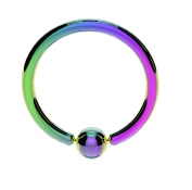 Surgical Steel Ball Closure Captive Ring BCR, Lip Nose Ear Tragus Septum Ring RAINBOW / PEARLESCENT