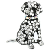 Brooches Store Antique Silver & Clear Crystal Puppy Dog Brooch