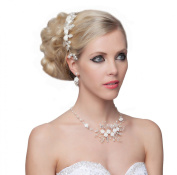 Stunning Flowers Pearls Necklace & Set Of Drop Earrings - SH-HM-G085
