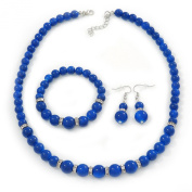 Navy Blue Ceramic Bead Necklace, Flex Bracelet & Drop Earrings With Crystal Ring Set In Silver Tone - 44cm Length/ 6cm Extension