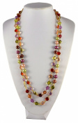 Jays Jewellery - 150cm Long Gold Tone Chain with Purple Multi-colour Faux Pearl and Bead Necklace